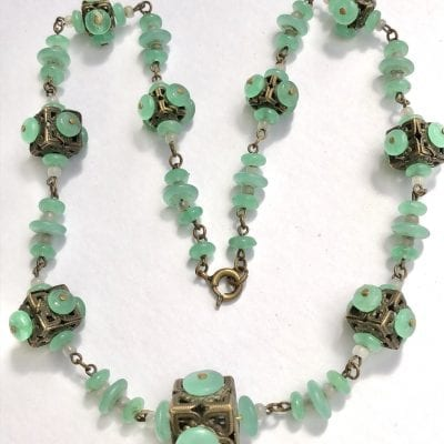 Czech Green Cube Necklace