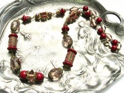Neiger Red Enamel Necklace