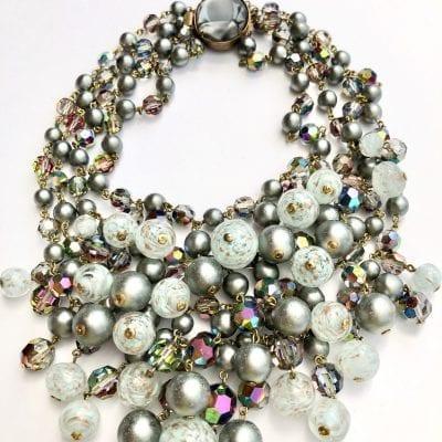 1950s Grey Pearl Collar Necklace