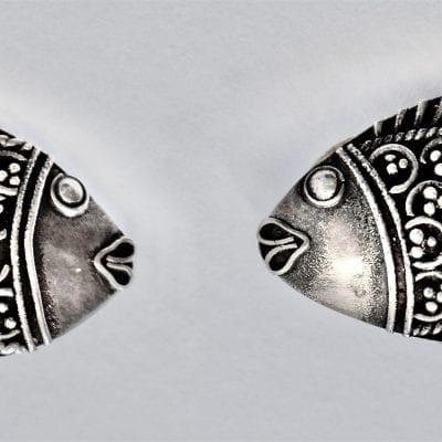 Vintage Fish Earrings Silver