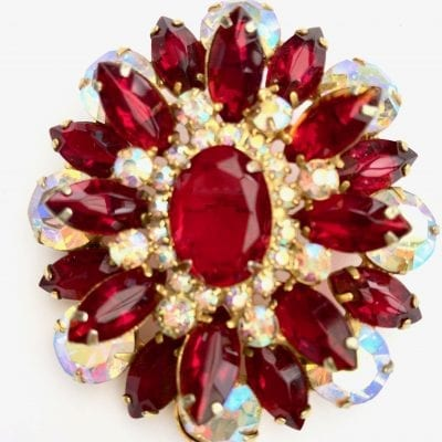 1950s Large Red Brooch