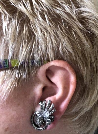 1930s Marcasite Clip On Earrings