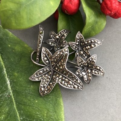 Sterling Silver Marcasite Leaf Brooch