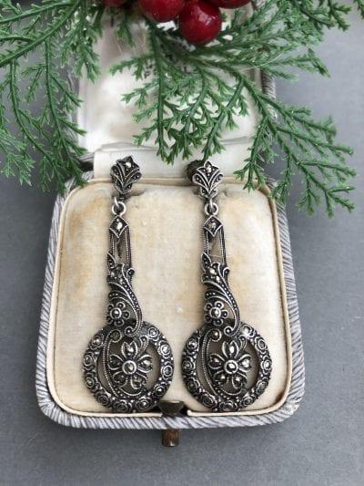 1930s Silver Marcasite Earrings