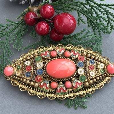 Neiger 1920s Coral Brooch