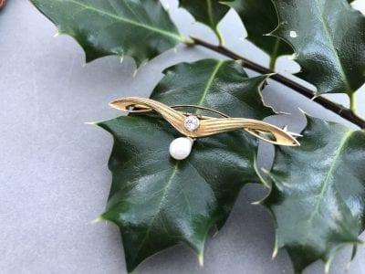 Art Nouveau Diamond Brooch