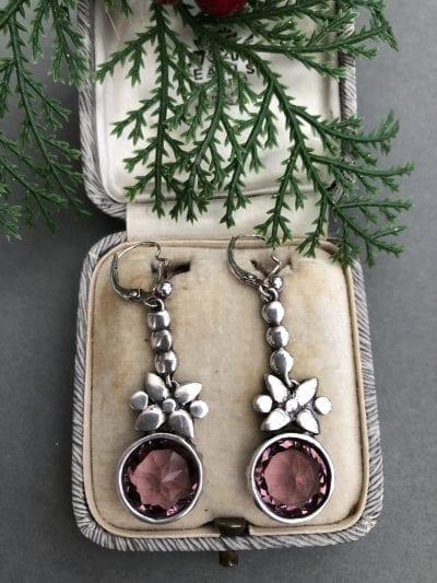 Georgian Amethyst Silver Earrings