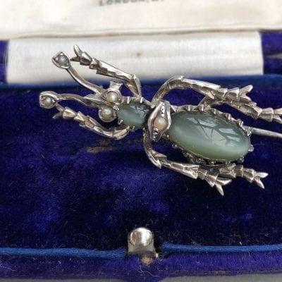 Victorian Cats Eye Bug Brooch