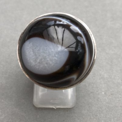 1980s Agate Silver Ring