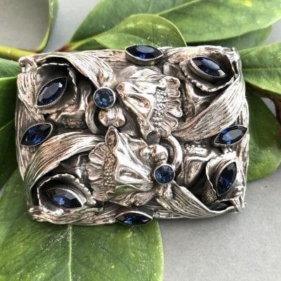 Sterling Sapphire Glass Brooch