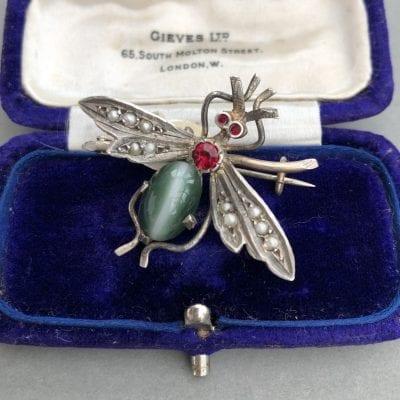 Victorian Silver Bug Brooch