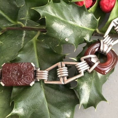 1920s Silver Carnelian Bracelet