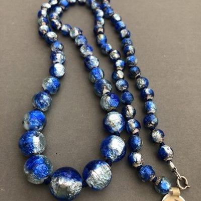 1920s Czech Foil Blue Beads