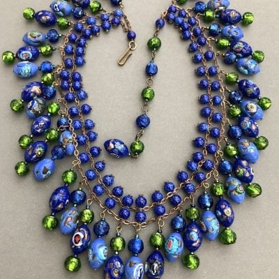 1940s Millefiori Fringe Necklace